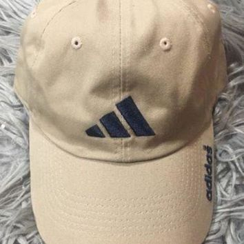 Adidas Spell Out Tan Khaki Strapback Dad Hat Cap Osfa Rare Vtg Cool Strap Back