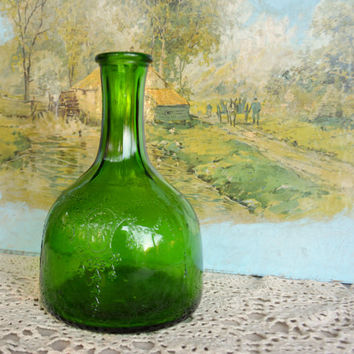 Vintage 1930's Green Bottle - Vintage White House Green Vinegar Bottle  -  Vintage Emerald Green Glass Decanter -