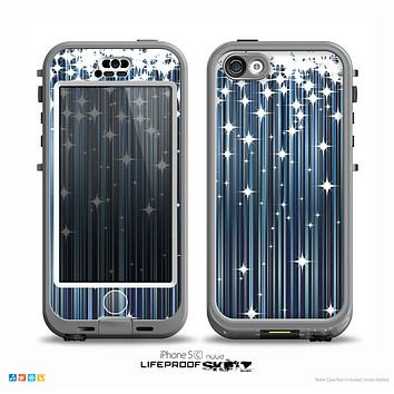 The Dark Blue & White Shimmer Strips Skin for the iPhone 5c nüüd LifeProof Case