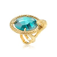 Just Cavalli Designer Rings Just Queen Crystal Golden Ring