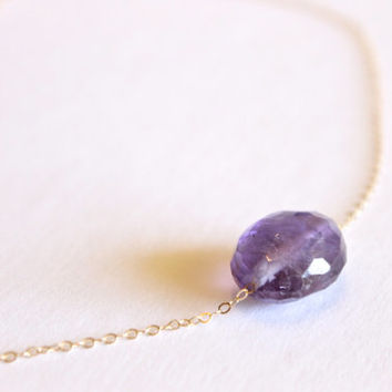 Amethyst Necklace - 14k Gold or Sterling Silver - Single Stone - Purple Crystal - Layering Simple - February Birthstone - Purple Bridesmaid