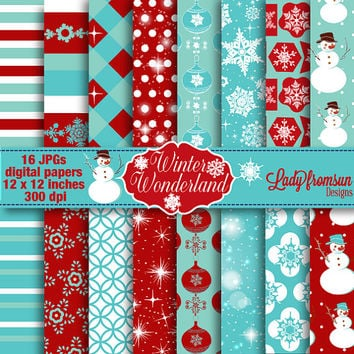 Winter Wonderland Snowflakes Christmas Digital Paper-Holiday-red, teal, glitter,Scrapbooking-snowman patterned paper Commercial-Personal Use