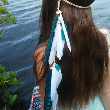 Turquoise Princess - Feather headband, native, american, style, indian, hippie headband, bohemian headband, wedding veil, feather veil