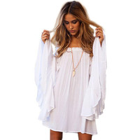 2017 Summer Slash Neck Flare Sleeve Solid White Elegant Draped Beach Style Flowy Light Women Dress
