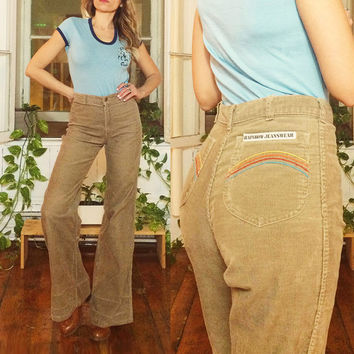 "Vintage 1970's Rare RAINBOW Striped Desert Brown Ultra High Waisted Corduroy Bellbottoms In A Long Length || Size 27 To 28 by 35"" Length"