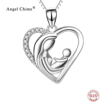 925 Sterling Silver Mother & Child Love Heart Pendants Necklaces Fine Jewelry For Women Mother's Day Gift