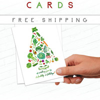 Client Holiday Cards, Vegetable Christmas Greeting Cards, Healthy Holidays, Vegetables, Fitness Christmas Card, Food Christmas Card, Green