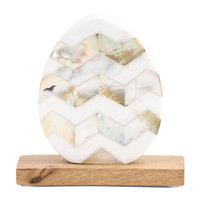 Made In India Chevron Marble Egg Decor On Wood Base - Decorative Accents - T.J.Maxx