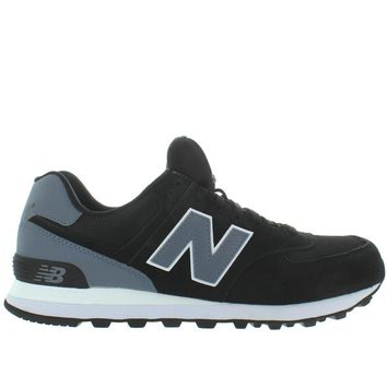 new balance 574 black suede mesh classic running sneaker