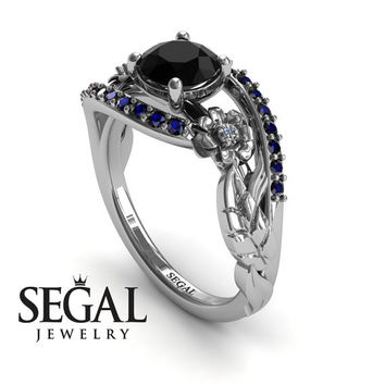 Unique Engagement Ring Diamond ring 14K White Gold Flowers And Leafs Black Diamond With White diamond And Sapphire - Alyssa