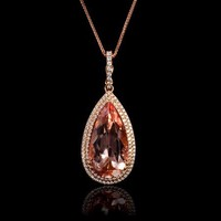 .64ct Diamond and Morganite 18k Rose Gold Pendant Necklace