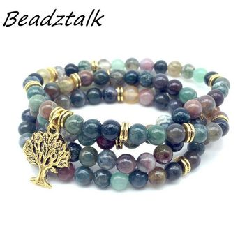 BEADZTALK Natural Stone Beads Mala Bracelet With Metal Tree Charms Yoga Necklace Woman Bangle Elastic Hot Sale Drop