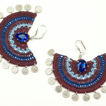 Burgundy Crochet Lace Earrings  - Dangle - Rhinestone - Statement Jewelry - Semicircle - Tughra Coin Charms - Pink Purple Blue Green