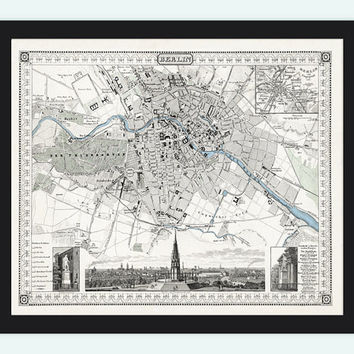 Old Map of Berlin, Germany 1860 Antique Vintage