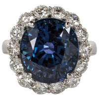 Rare Natural No Heat GIA Certified 13 carat Cushion Sapphire and Diamond Ring