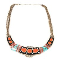 Enameled Necklace Rhinestone n Seed Bead American Indian Influence Coral Color