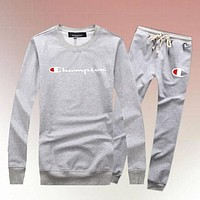 Champion Woman Men Long Sleeve Shirt Top Tee Pants Trousers Set Two-Piece Sportswear