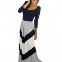 Navy, Gray, And White Chevron Dress - A99