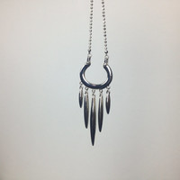 Moon Crescent Tassel Necklace Long Dotted Chain Silver Spike Bohemian Bridal