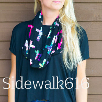 Galaxy Cross Print Infinity Scarf