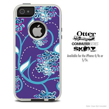 The Purple & Blue Abstract Floral Skin For The iPhone 4-4s or 5-5s Otterbox Commuter Case