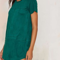 This is the Girl Vegan Suede Tee Dress - Green