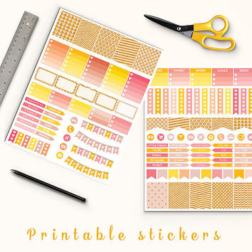 50% OFF SALE Gold Glitter Planner Stickers Printable Stickers Filofax Erin Condren Box Stickers Page Flags Weekend Banners To Do Stickers