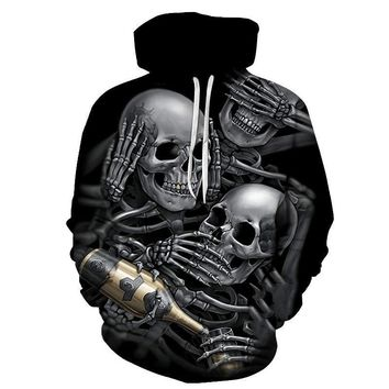 Three Skeleton Partying Champagne Skull All Over Print Hoodie Sweater