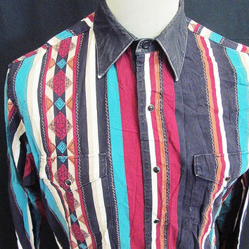 Vintage 1980s Geometric Aztec Striped Western Cowboy Indie Check Shirt Large