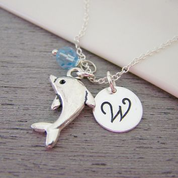 Dolphin Charm Swarovski Birthstone Initial Personalized Sterling Silver Necklace / Gift for Her