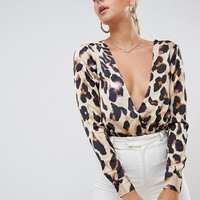 Missguided satin wrap body in leopard print at asos.com