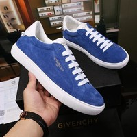 Givenchy Low Sneakers In Bicolor Blue Suede - Best Online Sale
