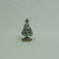 Dollhouse Miniature Sage Green Christmas Tree Figurine with Antique Gold