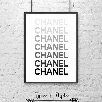 Coral Ombre Chanel Framed Poster - Framed Digital Art - Typography Print - Home Decor - Framed Wall Art - Motivational Art - type