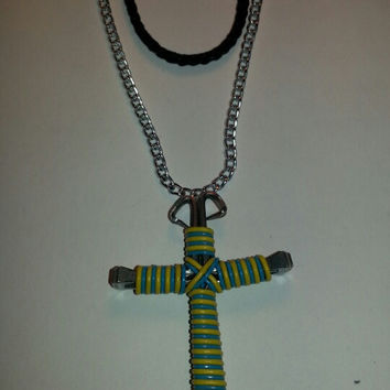 Yellow and neon blue candy cane wire wrapped horseshoe nail cross necklace jewelry
