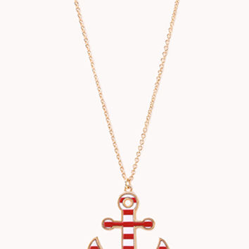 FOREVER 21 Set Sail Pendant Necklace Red/White One