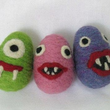 Needle Felted Monster Plush Easter Egg   Girl Monster   Eco Friendly Wool Toy   Easter Decoration