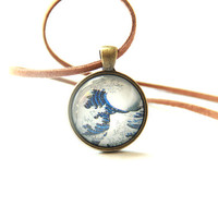 Hokusai Wave Necklace, Retro Graphic Necklace, Japanese Classic Picture Necklace