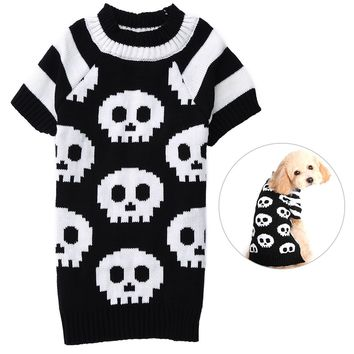 High qualtiy Dog Halloween Sweater Pet Holiday Clothes Dog Warm Knitwear with Skull Pattern Suitable for Dogs