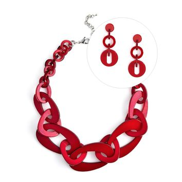 Mod Resin Jewelry Set in Red