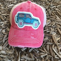 Leopard Jeep Hat- CORAL