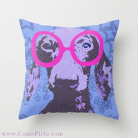 "Dachshund, Pet Graphic Print 16"" x 16"" Throw Pillow Cover - Couch Art, Dog, Doggy, Puppy Love, Stars, Starry, Blue, Hot Pink, Sapphire"