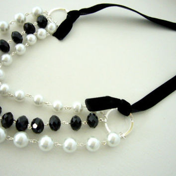 Black and White Necklace and Earrings Set, 3 strand Necklace, White Pearls, Black Crystals, Wedding Jewelry,  Bridesmaid Jewelry Set.