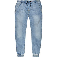River Island MensLight wash denim drawstring joggers