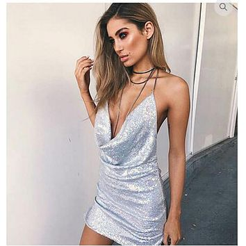 Kisscc Sexy Deep V Neck Low Cut Bodycon Sequined Dress Hollow Out Backless Metal Halter Off Shoulder Birthday Party Mini Dress
