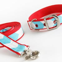 Aqua Zig Zag Dog Collar with Metal Buckle and Matching Leash SET You Choose Webbing Color Custom Size Small Medium OR Large