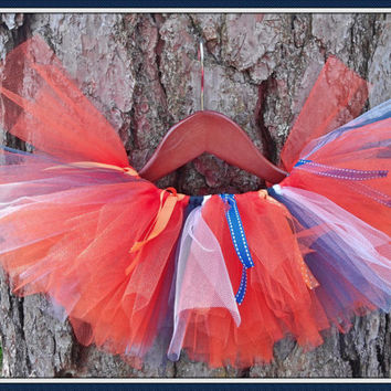 50% OFF!!  Auburn University Denver Blue and Orange War Eagle tutu with ribbon  toddler and teenage girls. Adult sizes upon request