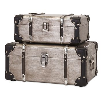 Refined Set of 2 Baker Aluminum Clad Suitcases
