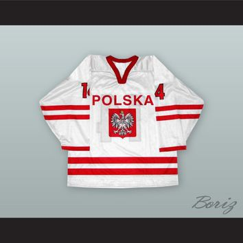 Jaroslaw Rzeszutko 14 Poland National Team White Hockey Jersey