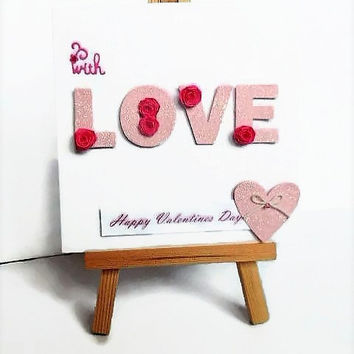 Love card, Valentines card, Valentines day card, quilled card, cute love card, romantic card, With love card, I love you card, card for wife